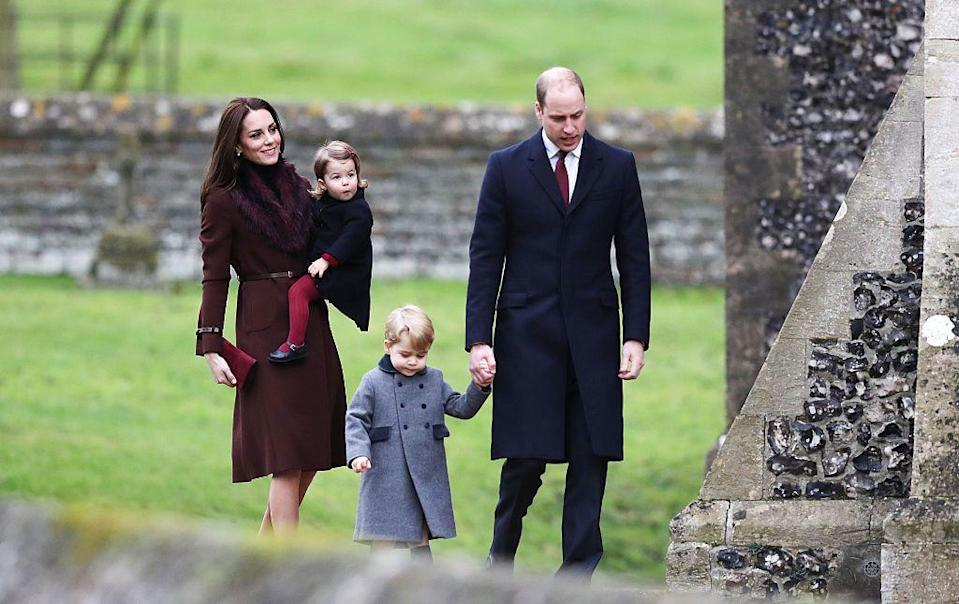 <p>The youngest siblings wrapped up in their warmest coats for a Christmas Day church service at St Mark's Church in Berkshire in 2016.</p>
