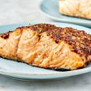 """<p>For the fastest meal ever, turn to your air fryer. This salmon cooks in just 10 minutes and comes out perfectly tender on the inside with an amazing top crust. The sweet mustard topping makes this one of our favourite <a href=""""http://www.delish.com/uk/salmon-recipes/"""" rel=""""nofollow noopener"""" target=""""_blank"""" data-ylk=""""slk:salmon dishes"""" class=""""link rapid-noclick-resp"""">salmon dishes</a>. </p><p>Get the <a href=""""https://www.delish.com/uk/cooking/recipes/a30724817/air-fryer-salmon-recipe/"""" rel=""""nofollow noopener"""" target=""""_blank"""" data-ylk=""""slk:Air Fryer Salmon"""" class=""""link rapid-noclick-resp"""">Air Fryer Salmon</a> recipe.</p>"""