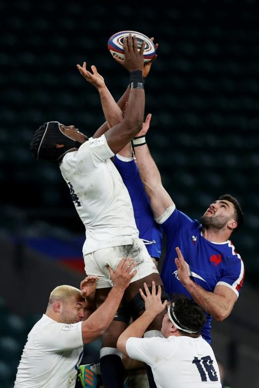 Cut above: England lock Maro Itoje jumps highest in a line-out against France