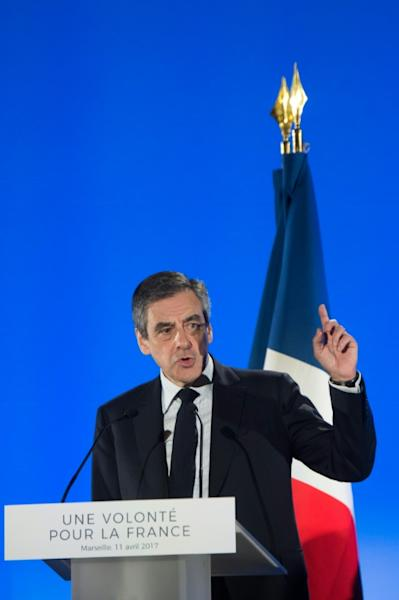 French presidential election candidate for the right-wing Les Republicains (LR) party Francois Fillon delivers a speech during a campaign rally in Marseille, southern France, on April 11, 2017