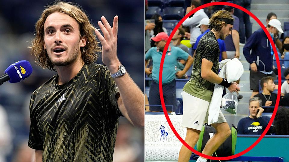 Stefanos Tsitsipas sparked more controversy with another lengthy bathroom break in his second round win at the US Open. Pic: AAP