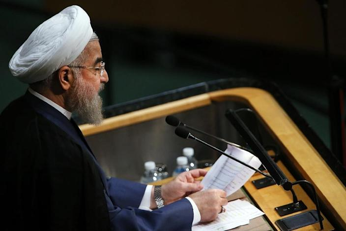 President of Iran Hassan Rouhani addresses the United Nations General Assembly, at the UN headquarters in New York, on September 28, 2015 (AFP Photo/Spencer Platt)