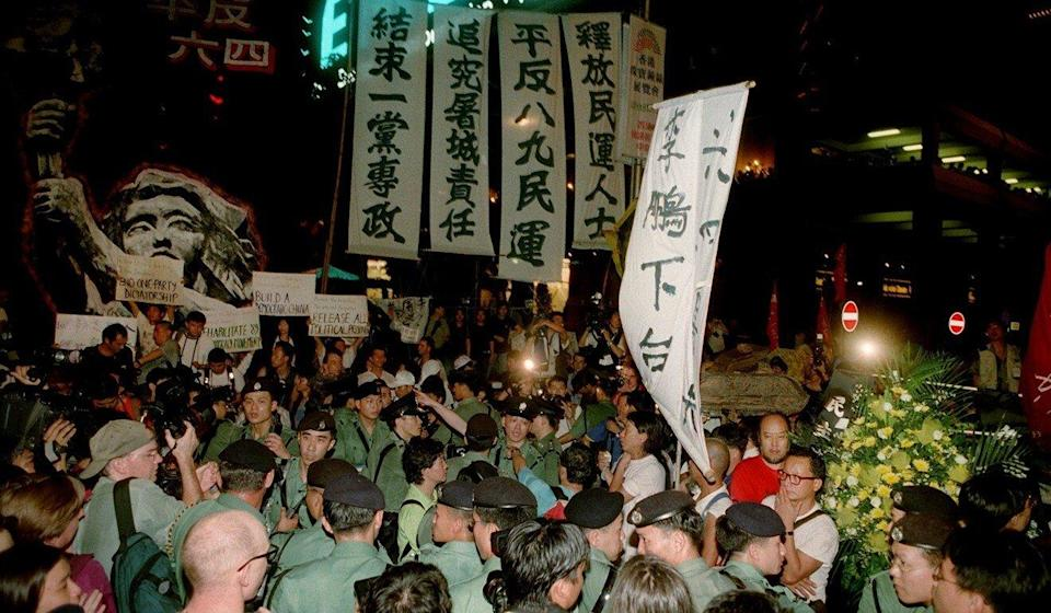 Pro-democracy protesters gather in Hong Kong on the night of June 30, 1997. Photo: Wan Kam-yan