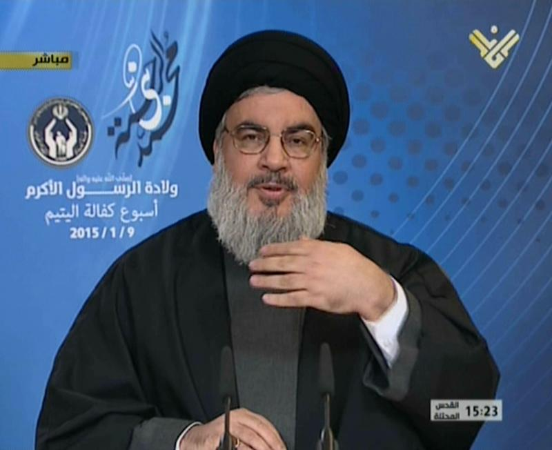 Image grab from Hezbollah's al-Manar TV on January 9, 2015, shows Hassan Nasrallah, the head of Lebanon's militant Shiite Muslim movement Hezbollah, giving an address from an undisclosed location
