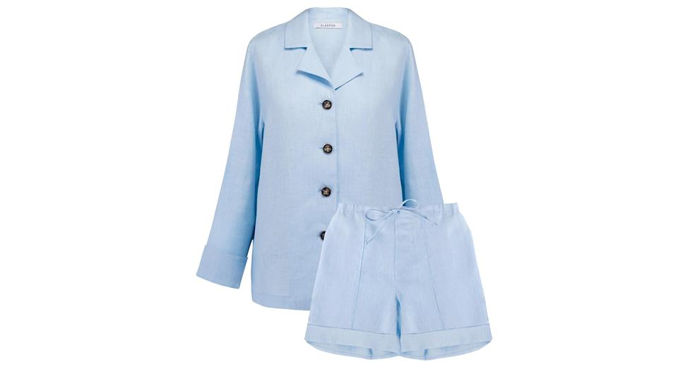 Azure Blue Linen Pajama Set with Shorts
