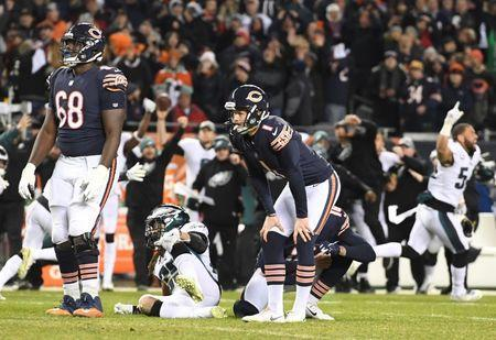 FILE PHOTO - Jan 6, 2019; Chicago, IL, USA; Chicago Bears kicker Cody Parkey (1) reacts after missing a field goal against the Philadelphia Eagles in the fourth quarter of a NFC Wild Card playoff football game at Soldier Field. Mandatory Credit: Mike DiNovo-USA TODAY Sports