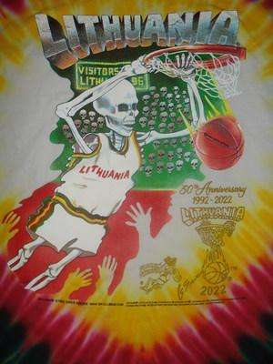 Skullman.com issues 30th Year Edition of  Greg Speirs' Original 1992 Skullman Lithuania Tie Dye Basketball Uniform Jerseys made famous during the 1992 Barcelona Summer Olympics. The Original 1992 Skullman Lithuanian Tie Dyed Jerseys and the new 1992-2022 Collector's 30th Anniversary Edition are both available at: www.skullman.com  Lithuania Tie Dye® & Lithuanian Slam Dunking Skeleton ® brands are 1992 Copyright © & ® Trademark properties of Greg Speirs.