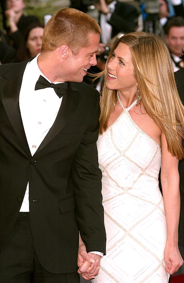 <strong>Celebrity Couple You'd Like to See Reunited</strong><br>They announced their split seven years ago, but that doesn't stop us from holding out hope that Brad Pitt and Jennifer Aniston will rekindle their romance! 40% of those surveyed said they would like the former couple, married in 2000, to get back together. Second place in the category saw a tie between two of the most high-profile splits of last year, Demi Moore and Ashton Kutcher, and Jennifer Lopez and Marc Anthony, who both earned 27 percent of the vote. Only 6 percent said they thought reality stars Kim Kardashian and Kris Humphries should reconcile.
