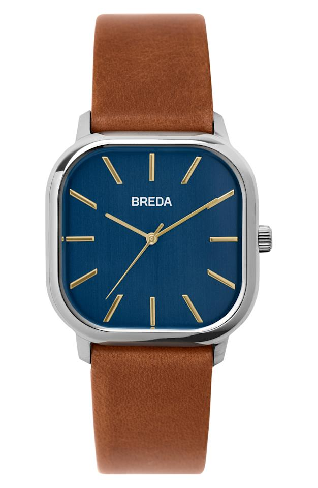 "<p><strong>BREDA</strong></p><p>BREDA Visser Square Leather Strap Watch, nordstrom.com</p><p><strong>$90.00</strong></p><p><a rel=""nofollow"" href=""https://shop.nordstrom.com/s/breda-visser-square-leather-strap-watch-35mm/5083975"">Shop Now</a></p><p>Give dad a modern style in bold colors, like navy and cognac, that stand the test of time.</p>"