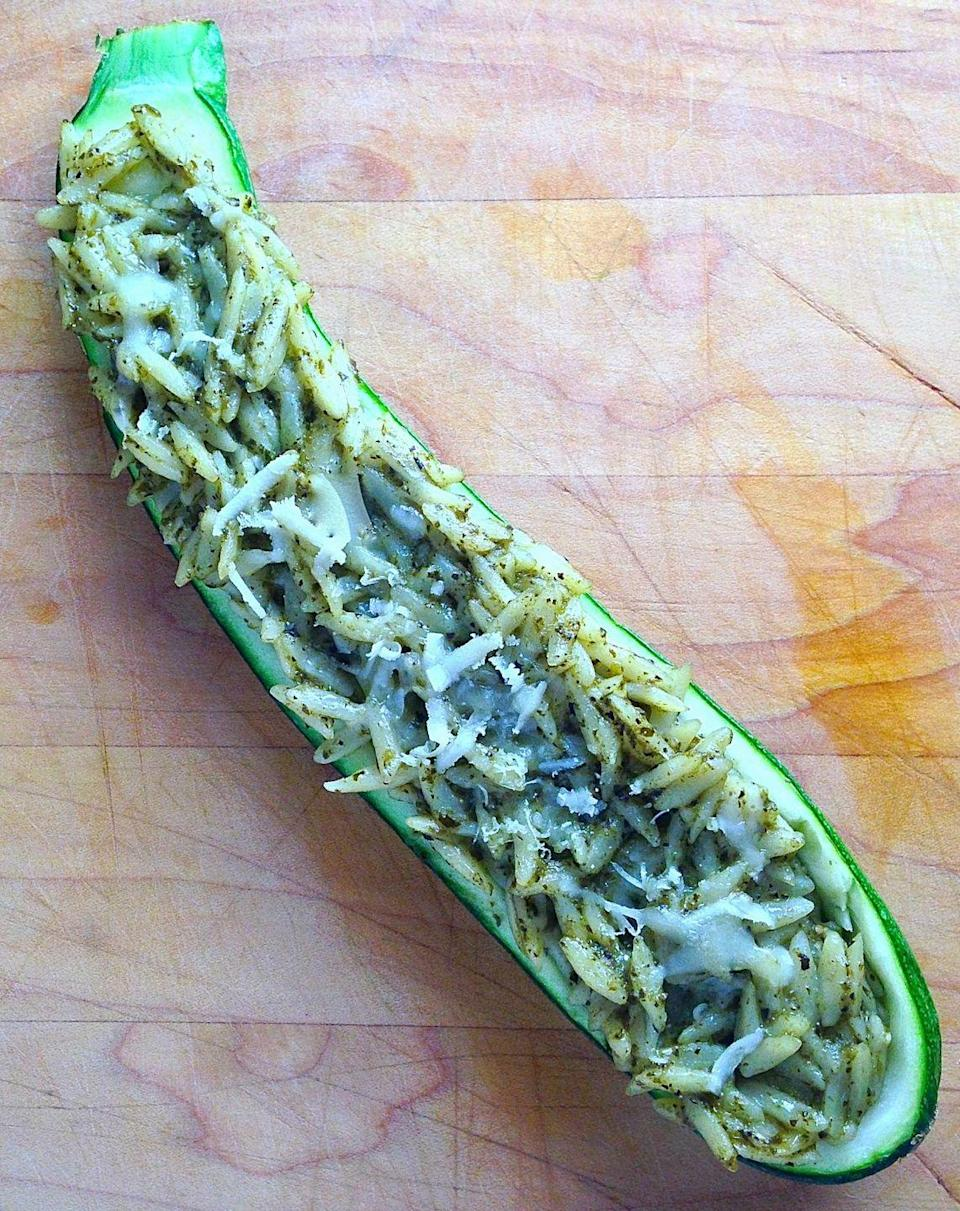"""<p><span>This is a whole new way to have veggie pasta.</span></p><p><span>Get the recipe from </span><a href=""""/cooking/a43100/stuffed-zucchini-recipes/"""" data-ylk=""""slk:Delish"""" class=""""link rapid-noclick-resp"""">Delish</a><span>.</span><br></p>"""