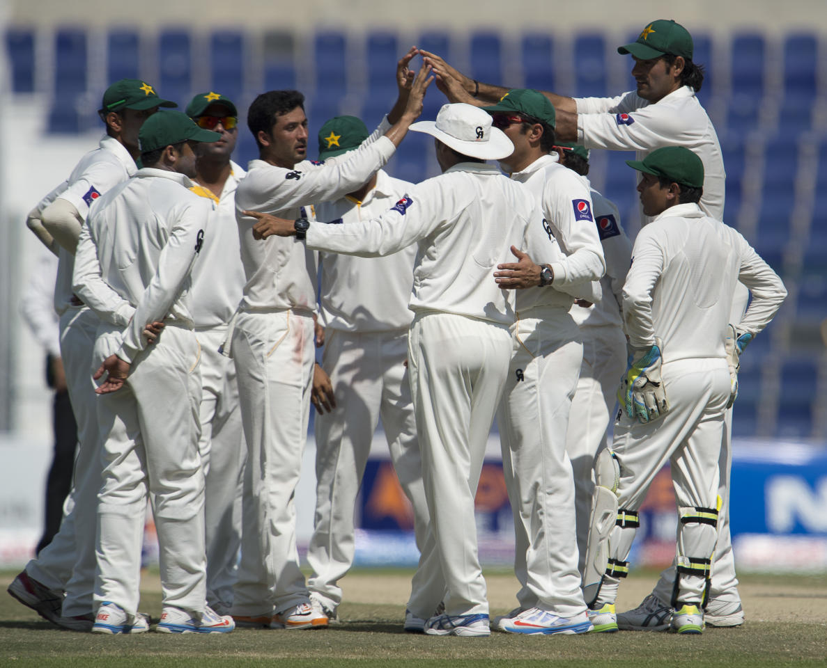 Pakistan's team celebrates South Africa's JP Duminy out during the fourth day of their first Test at the Sheikh Zayed Cricket Stadium in Abu Dhabi on October 17, 2013. AB de Villiers hit a fighting fifty to delay Pakistan's victory march over South Africa on the fourth day of the first Test in Abu Dhabi today. AFP PHOTO/STR        (Photo credit should read STR/AFP/Getty Images)