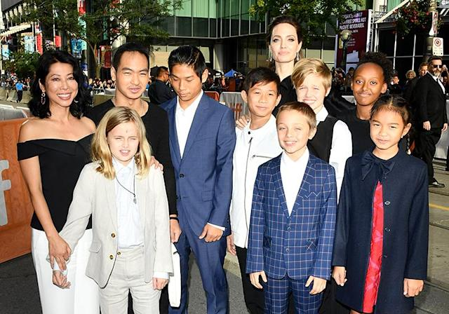 Angelina Jolie and her six kids attended the premiere of <em>The Breadwinner</em> at the Toronto Film Festival with friends. (Photo: George Pimentel/WireImage)