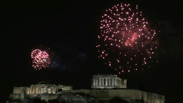 Fireworks above the Acropolis in Athens
