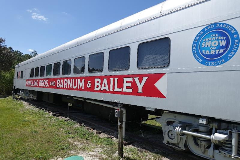 A train car that used to transport elephants from city to city for the circus is parked March 8, 2016 at the Ringling Bros. Center for Elephant Conservation in Polk City, Florida (AFP Photo/Kerry Sheridan)