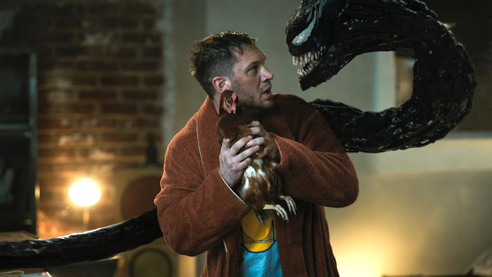 Eddie Brock (Tom Hardy) bickers with his symbiote Venom in Venom: Let There be Carnage (Photo: Sony Pictures Releasing / © Marvel Entertainment / Courtesy Everett Collection)