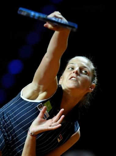 Marathon win: Karolina Pliskova needed three sets to beat Jelena Ostapenko and make the semi-finals