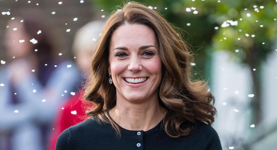 The Duchess Of Cambridge wore a blue button front cardigan for her latest virtual royal engagement. (Getty Images)