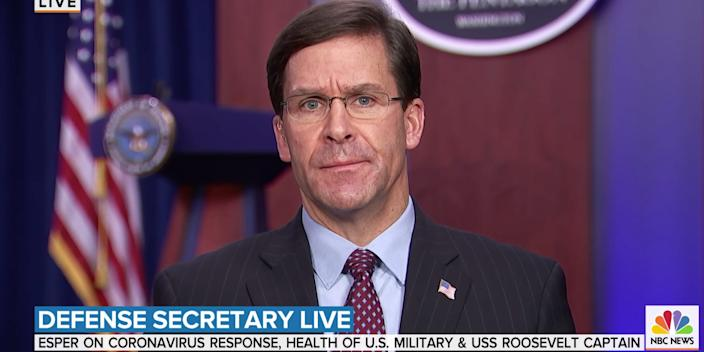 Defense secretary Mark Esper spoke cautiously about the theory that the coronavirus was accidentally released from a Wuhan virology lab.