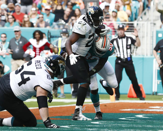 Jacksonville Jaguars running back Leonard Fournette (27) scores a touchdown as Miami Dolphins defensive end Charles Harris (90) attempts to tackle, during the first half of an NFL football game, Sunday, Dec. 23, 2018, in Miami Gardens, Fla.Jacksonville Jaguars offensive guard Chris Reed (64) is at left, (AP Photo/Brynn Anderson)