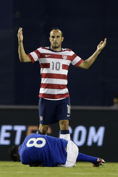 The United States' Landon Donovan (10) reacts as he is called for a foul on Guatemala's Sergio Trujillo in the first half during an international friendly soccer match Friday, July 5, 2013, in San Diego. (AP Photo/Gregory Bull)