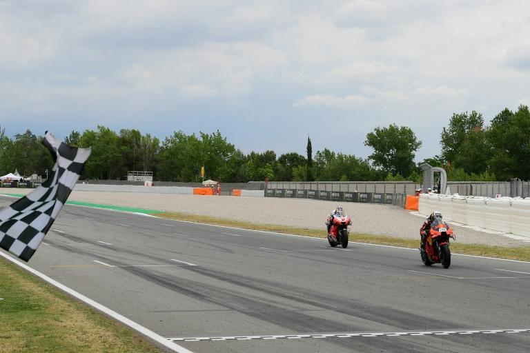 Miguel Oliveira held off Johann Zarco to take the chequered flag at Catalonia MotoGP