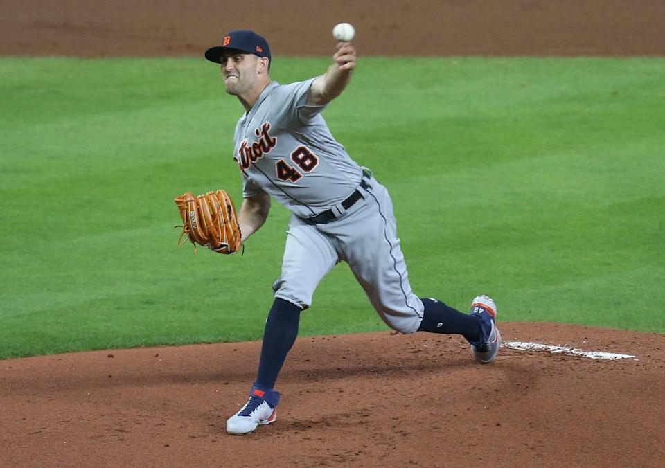 Detroit Tigers starting pitcher Matthew Boyd (48) throws against the Houston Astros in the first inning at Minute Maid Park in Houston on Tuesday, April 13, 2021.