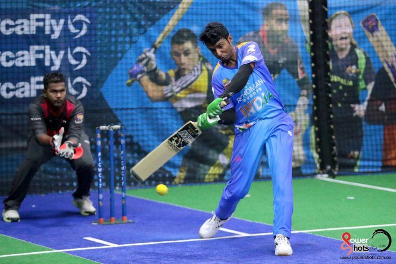 Aries Khan bats for India at the 2017 Indoor Cricket World Cup (Image Courtesy: Powershots Photography)