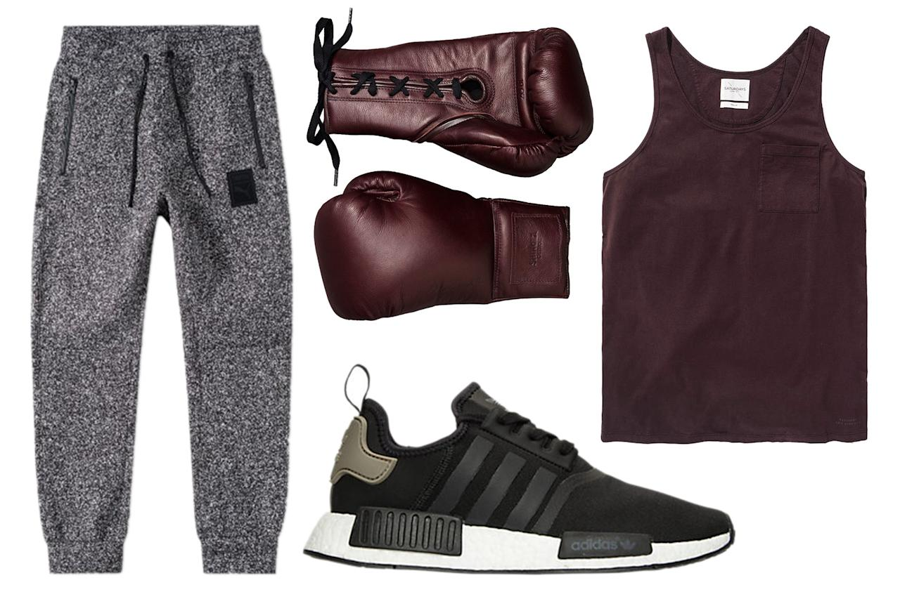 """<p>Conjure Rocky Balboa in gray sweats and a dead simple cotton tank. The Shinola boxing gloves can be used in the ring or, let's face it, hung on the walls of your apartment.</p><p><em>Saturdays NYC Oxblood Tank Top, $55, available at <a rel=""""nofollow"""" href=""""https://www.saturdaysnyc.com/item/rosen-oxblood?mbid=synd_yahoostyle"""">saturdaysnyc.com</a>; Puma x Trapstar Track Pants, $99, available at <a rel=""""nofollow"""" href=""""http://www.endclothing.com/us/puma-x-trapstar-track-pant-571822-02.html?mbid=synd_yahoostyle"""">endclothing.com</a>; Adidas NMD Sneakers, $130, available at <a rel=""""nofollow"""" href=""""http://www.finishline.com/store/browse/productDetail.jsp?mbid=synd_yahoostyle&productId=prod799732"""">finishline.com</a>; Shinola Leather Boxing Gloves, $500, available at <a rel=""""nofollow"""" href=""""https://www.shinola.com/leather-boxing-gloves.html?mbid=synd_yahoostyle"""">shinola.com</a></em></p>"""
