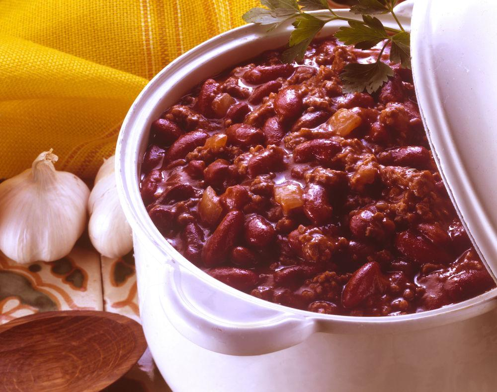 "<p>Chilli is one of those one pot wonders you can make a vat of and eat throughout the week, whether you serve it up with rice or on a jacket potato. For a healthy version try <a rel=""nofollow"" href=""http://www.hairybikers.com/recipes/view/chilli-con-carne#Sqdo38AGglHHqUZS.97"">this recipe from the Hairy Bikers</a>. [Photo: Food and Drink/REX/Shutterstock] </p>"