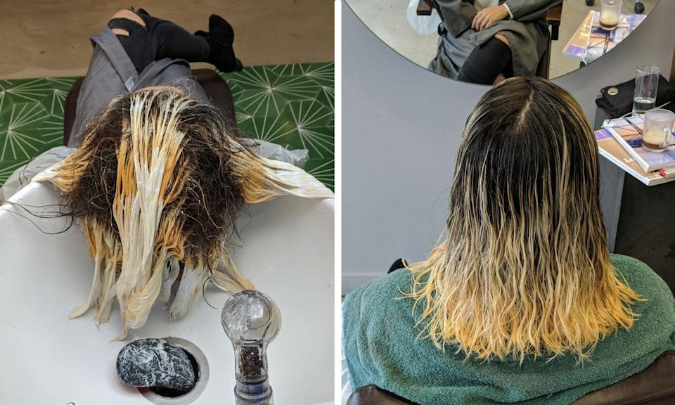 The bleach goes in.