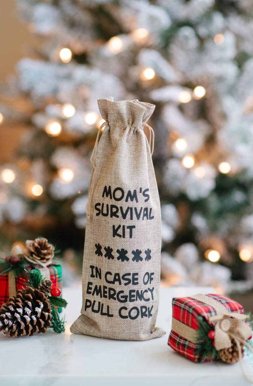 'Mom's Survival Kit' Reusable Jute Wine Bag (Photo via Etsy)