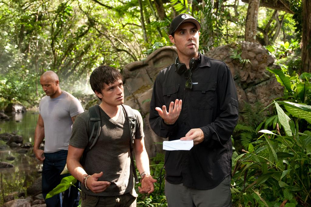 """Dwayne Johnson, Josh Hutcherson, and director Brad Peyton on the set of Warner Bros. Pictures' <a href=""""http://movies.yahoo.com/movie/journey-2-the-mysterious-island/"""">Journey 2: The Mysterious Island</a> - 2012"""