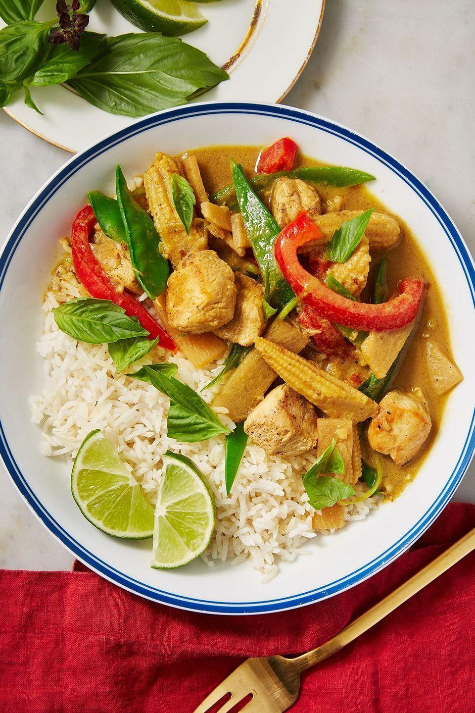 """<p>Thai green curry is a variety of curry from <a href=""""https://www.delish.com/uk/cooking/recipes/g30761979/thai-food/"""" rel=""""nofollow noopener"""" target=""""_blank"""" data-ylk=""""slk:Thailand"""" class=""""link rapid-noclick-resp"""">Thailand</a> using coconut milk and fresh green chillies. </p><p>Get the <a href=""""https://www.delish.com/uk/cooking/recipes/a31011824/thai-green-curry/"""" rel=""""nofollow noopener"""" target=""""_blank"""" data-ylk=""""slk:Thai Green Curry"""" class=""""link rapid-noclick-resp"""">Thai Green Curry</a> recipe.</p>"""