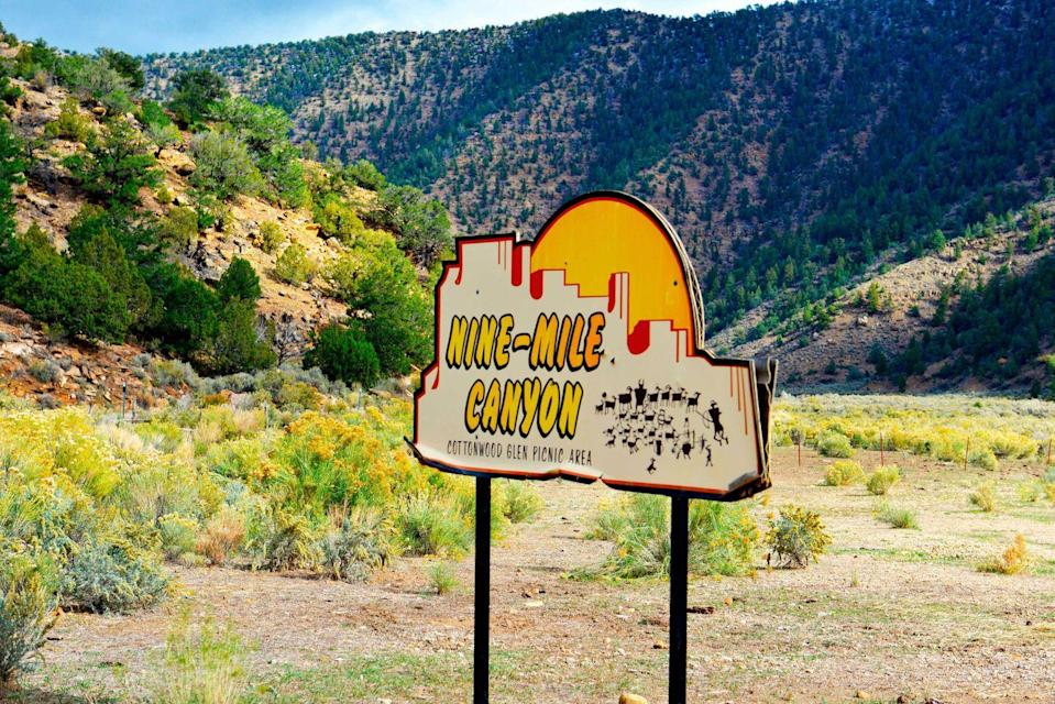"""<p><strong>Nine Mile Canyon </strong></p><p>About 125 miles from Salt Lake City, <a href=""""https://www.visitutah.com/articles/the-46-miles-of-nine-mile-canyon/"""" rel=""""nofollow noopener"""" target=""""_blank"""" data-ylk=""""slk:Nine Mile Canyon"""" class=""""link rapid-noclick-resp"""">Nine Mile Canyon</a> is filled with thousands of petroglyphs and pictographs—some over a thousand years old. Although the name is """"Nine Mile,"""" the canyon is actually 46 miles long. About halfway through the canyon is the remnants of an old town called Harper, once a stagecoach shop but now a hollow ghost town.</p>"""