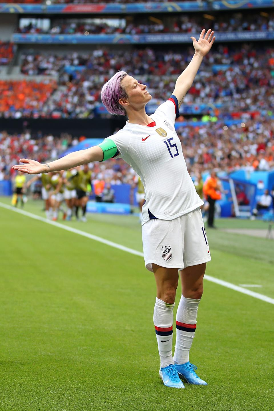 Rapinoe celebrates scoring the first goal from the penalty spot during the 2019 FIFA Women's World Cup France final match between the United States of America and the Netherlands at Stade de Lyon in Lyon, France, on July 07, 2019.