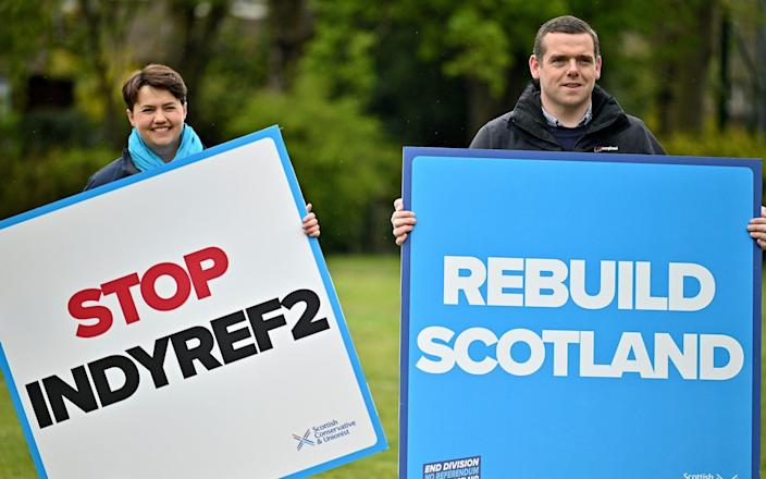 MUSSELBURGH, SCOTLAND - MAY 04: Scottish Conservative party leader Douglas Ross and Former Leader Ruth Davidson campaign during the Scottish Parliament election at Lewisvale Park on May 04, 2021 in Musselburgh, Scotland. Political party leaders were out campaigning in the final two day before voters go to the polls on Thursday in across Scotland. - Jeff J Mitchell/Getty Images