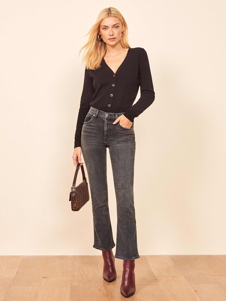 """<p>These flattering <a href=""""https://www.popsugar.com/buy/Reformation-Jessie-High-Crop-Boot-Jeans-491437?p_name=Reformation%20Jessie%20High%20Crop%20Boot%20Jeans&retailer=thereformation.com&pid=491437&price=98&evar1=fab%3Aus&evar9=45615413&evar98=https%3A%2F%2Fwww.popsugar.com%2Ffashion%2Fphoto-gallery%2F45615413%2Fimage%2F46627108%2FReformation-Jessie-High-Crop-Boot-Jeans&list1=shopping%2Cdenim%2Cjeans%2Cwinter%2Cwinter%20fashion&prop13=mobile&pdata=1"""" rel=""""nofollow"""" data-shoppable-link=""""1"""" target=""""_blank"""" class=""""ga-track"""" data-ga-category=""""Related"""" data-ga-label=""""https://www.thereformation.com/products/jessie-high-crop-boot?color=Redondo&amp;via=Z2lkOi8vcmVmb3JtYXRpb24td2VibGluYy9Xb3JrYXJlYTo6Q2F0YWxvZzo6Q2F0ZWdvcnkvNWFhNWRiMDA2NTA1MDQwYzMwYWNkMDU2"""" data-ga-action=""""In-Line Links"""">Reformation Jessie High Crop Boot Jeans </a> ($98) come in two other washes.</p>"""