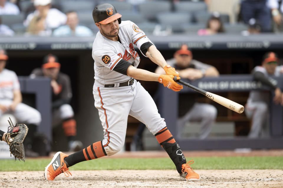 Baltimore Orioles' Renato Nunez hits a two run double during the seventh inning of a baseball game against the New York Yankees, Wednesday, Aug. 14, 2019, in New York. (AP Photo/Mary Altaffer)