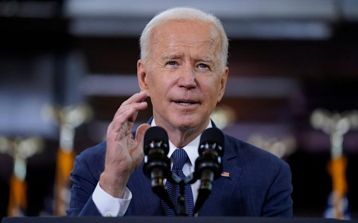 President Joe Biden delivers a speech on infrastructure spending at Carpenters Pittsburgh Training Center in Pittsburgh - AP