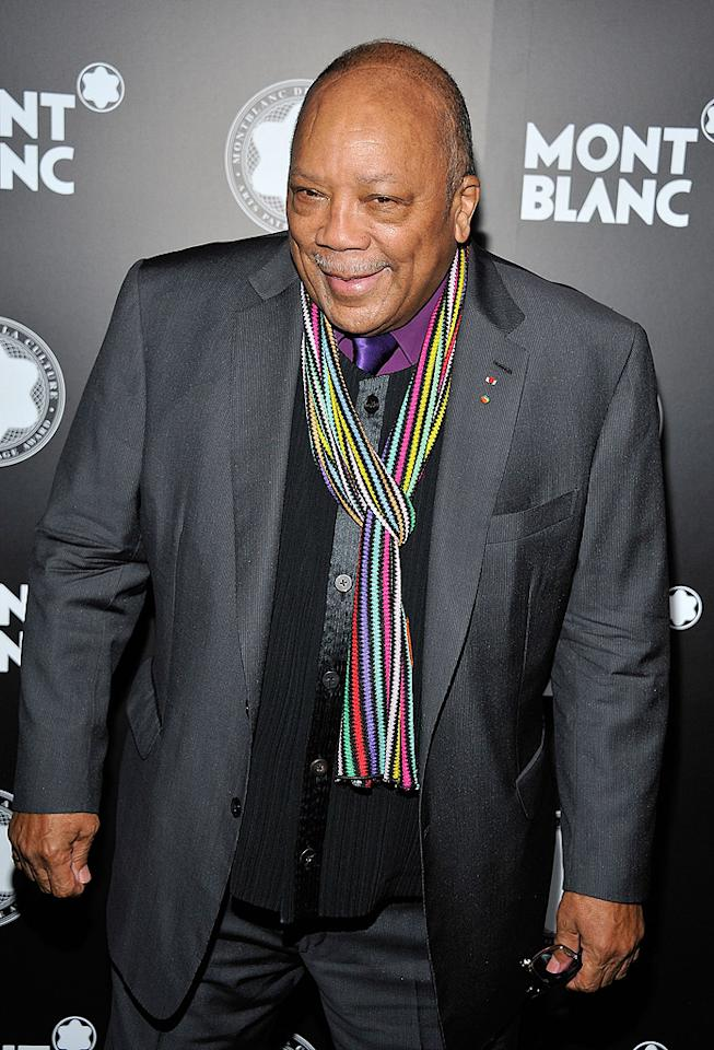 "<p class=""MsoNormal"">Music mogul Quincy Jones was honored Tuesday evening<span style=""""> at</span> the 2012 Montblanc de la Culture Arts Patronage Awards Ceremony at the Chateau Marmont in Los Angeles. Hollywood's elite showed up to fete Jones for his ""exceptional time, energy, and funds to artists and their work."" The 79-year-old has been a longtime humanitarian and after accepting his award and a $20,000 check, he immediately donated the money to the Jazz Foundation of America. Now, that's a class act. (10/2/12)</p>"