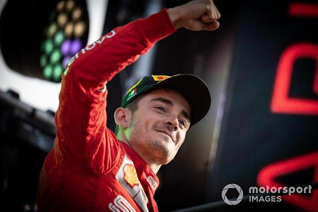 "Race winner Charles Leclerc, Ferrari, celebrates on the podium <span class=""copyright"">Simon Galloway / Motorsport Images</span>"