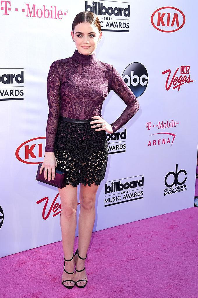 <p>Lingerie-inspired was all over the pink carpet, and considering temps hovered in the 80s, it was probably a comfortable choice for PLL's Hale. <i>(Photo: Steve Granitz/Getty Images)</i></p>