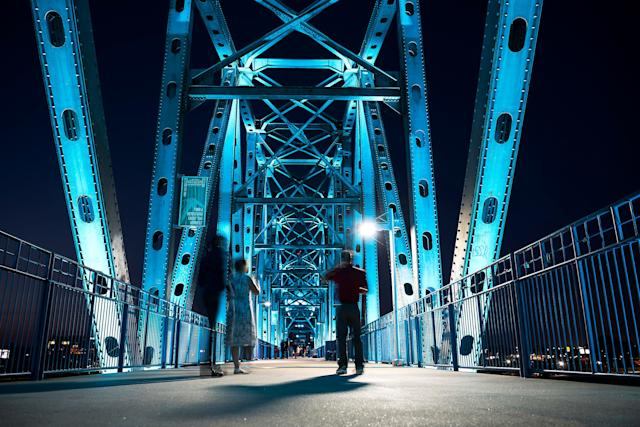 You can walk across Junction Bridge, which is lit with LED lights.