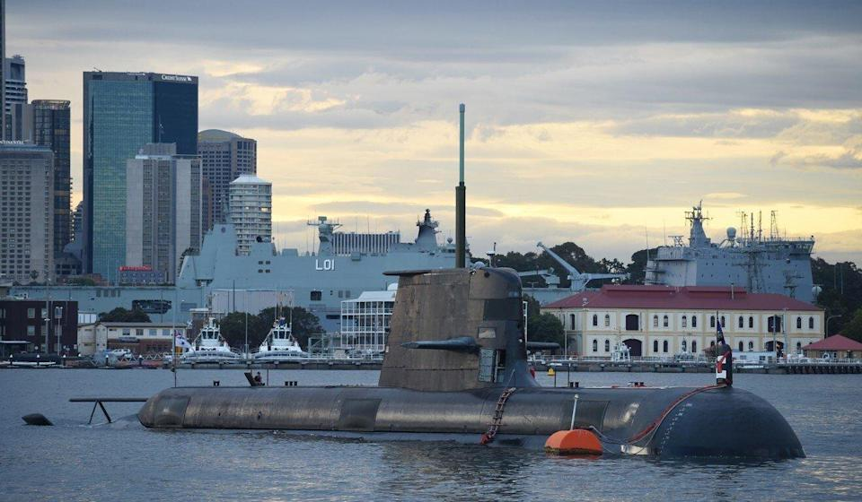 A Royal Australian Navy diesel and electric-powered Collins Class submarine sits in Sydney Harbour in 2016. Photo: AFP