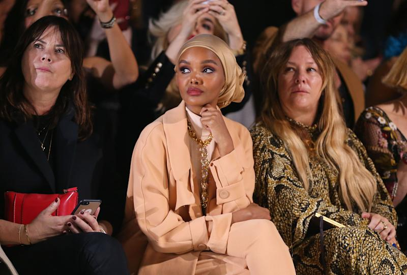 SYDNEY, AUSTRALIA - MAY 16:Hamila Aden sits front row for the Carla Zampatti show at Mercedes-Benz Fashion Week Resort 20 Collections at Carriageworks on May 16, 2019 in Sydney, Australia. (Photo by Don Arnold/Getty Images)