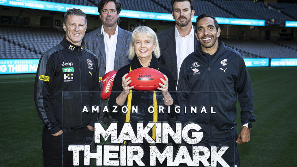 Richmond Tigers head coach Damien Hardwick, AFL CEO Gillon McLachlan, Tigers president Peggy O'Neal, Tigers CEO Brendon Gale and Carlton Blues footballer Eddie Betts pose for a photograph during the 'Making Their Mark' Documentary launch. (Photo by Daniel Pockett/Getty Images)