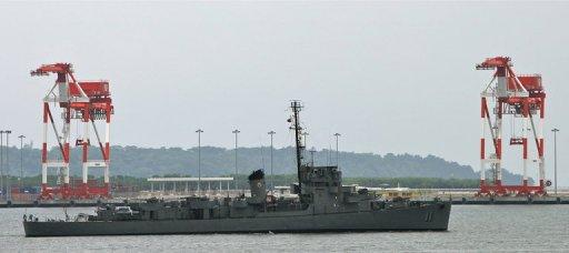 Philippine navy ship BRP Rajah Humabon is seen leaving Subic Bay, the former US navy base, near the south China sea, on July 27. Tensions between the Philippines and China over the South China Sea have been running high due to disputes over the Reed Bank and the Spratly islands to the south of the prospects, and Scarborough Shoal to the north