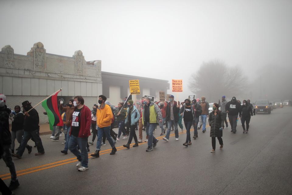 Demonstrators protest the October 20 police shooting that led to the death of 19-year-old Marcellis Stinnette and left his girlfriend, 20-year-old Tafara Williams, with serious injuries on October 22, 2020 in Waukegan, Illinois.