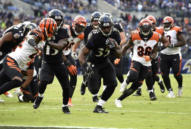 Baltimore Ravens running back Gus Edwards emerged from the depths to shock the fantasy world. Can he do it again against Oakland? (AP Photo/Gail Burton)