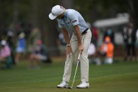 Will Zalatoris reacts to a missed putt on the 16th green during the third round of the Masters golf tournament on Saturday, April 10, 2021, in Augusta, Ga. (AP Photo/Matt Slocum)